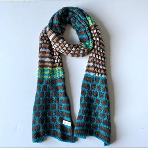 Echo Long Skinny Blue Brown Lightweight Scarf